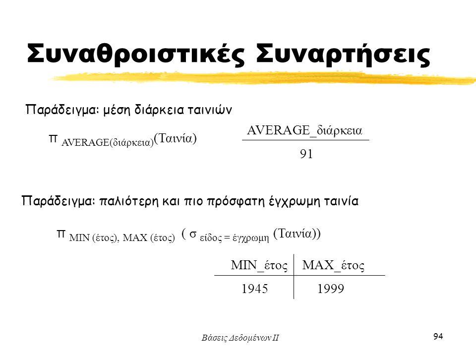 Βάσεις Δεδομένων ΙΙ 94 Παράδειγμα: μέση διάρκεια ταινιών AVERAGE_διάρκεια 91 Παράδειγμα: παλιότερη και πιο πρόσφατη έγχρωμη ταινία π AVERAGE(διάρκεια)