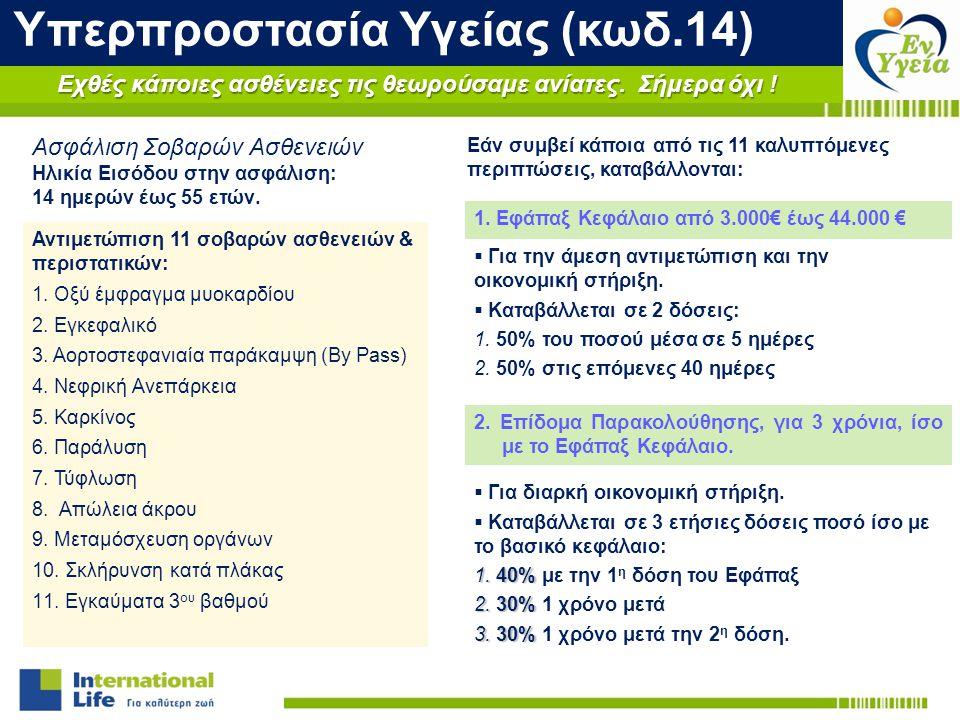 Αντιμετώπιση 11 σοβαρών ασθενειών & περιστατικών: 1. Οξύ έμφραγμα μυοκαρδίου 2. Εγκεφαλικό 3. Αορτοστεφανιαία παράκαμψη (By Pass) 4. Νεφρική Ανεπάρκει