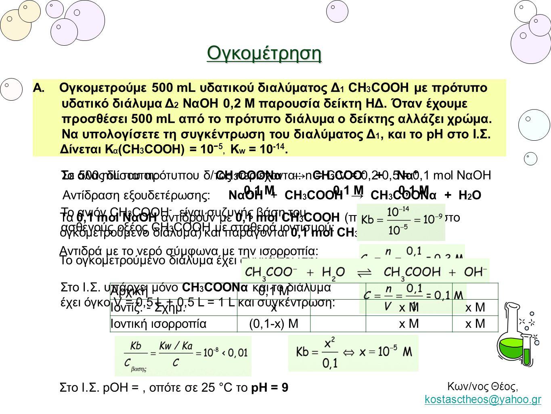 Ογκομέτρηση Α. Ογκομετρούμε 500 mL υδατικού διαλύματος Δ 1 CH 3 COOH με πρότυπο υδατικό διάλυμα Δ 2 ΝαΟΗ 0,2 Μ παρουσία δείκτη ΗΔ. Όταν έχουμε προσθέσ