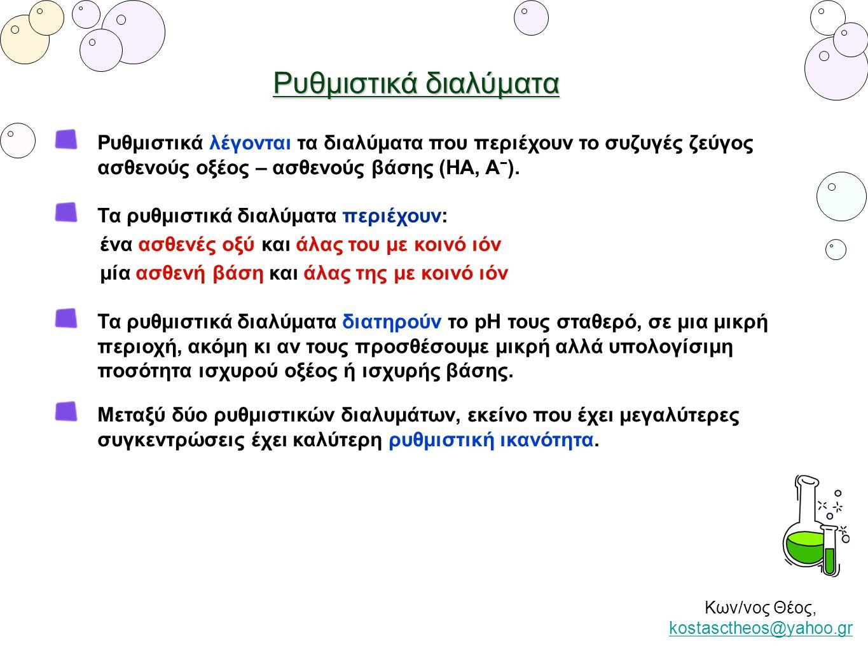 Ρυθμιστικά λέγονται τα διαλύματα που περιέχουν το συζυγές ζεύγος ασθενούς οξέος – ασθενούς βάσης (ΗΑ, Α − ). Κων/νος Θέος, kostasctheos@yahoo.gr kosta
