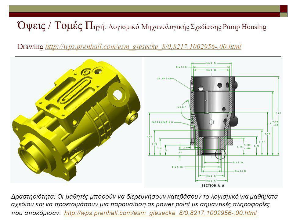 Όψεις / Τομές Π ηγή: Λογισμικό Μηχανολογικής Σχεδίασης Pump Housing Drawing http://wps.prenhall.com/esm_giesecke_8/0,8217,1002956-,00.htmlhttp://wps.p