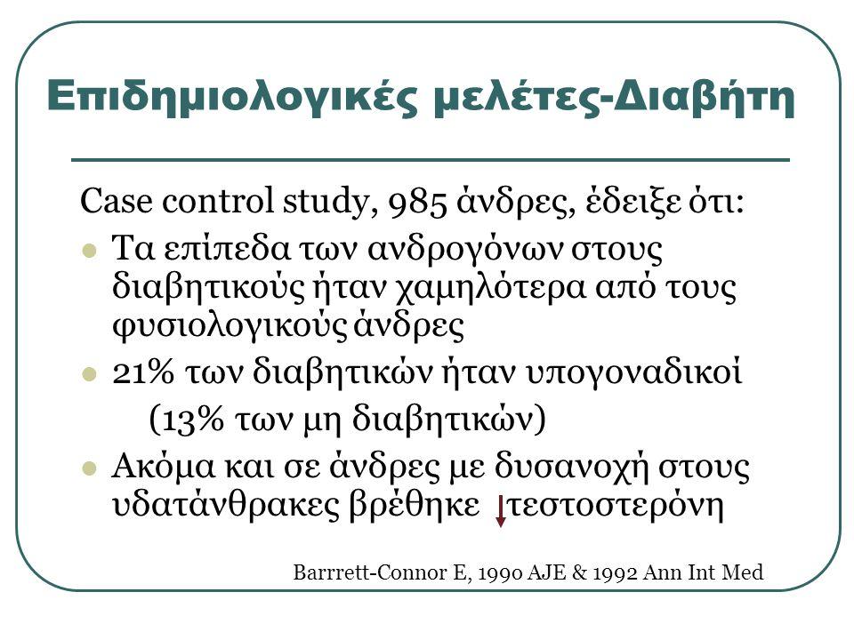 Επιδημιολογικές μελέτες-Διαβήτη Case control study, 985 άνδρες, έδειξε ότι: Τα επίπεδα των ανδρογόνων στους διαβητικούς ήταν χαμηλότερα από τους φυσιολογικούς άνδρες 21% των διαβητικών ήταν υπογοναδικοί (13% των μη διαβητικών) Ακόμα και σε άνδρες με δυσανοχή στους υδατάνθρακες βρέθηκε τεστοστερόνη Barrrett-Connor E, 199o AJE & 1992 Ann Int Med