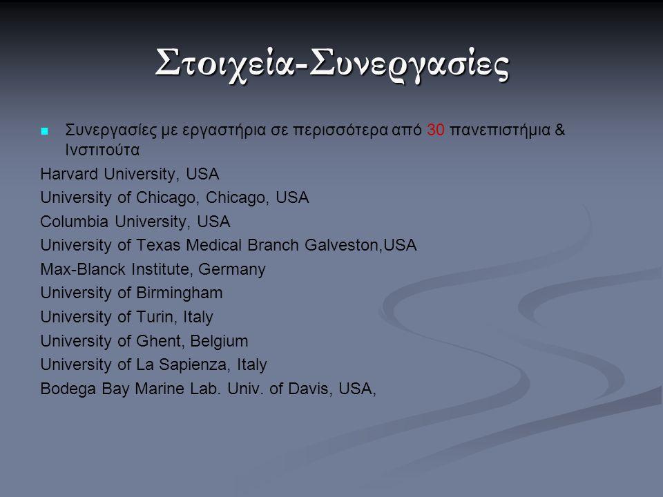 Στοιχεία-Συνεργασίες Συνεργασίες με εργαστήρια σε περισσότερα από 30 πανεπιστήμια & Ινστιτούτα Harvard University, USA University of Chicago, Chicago,