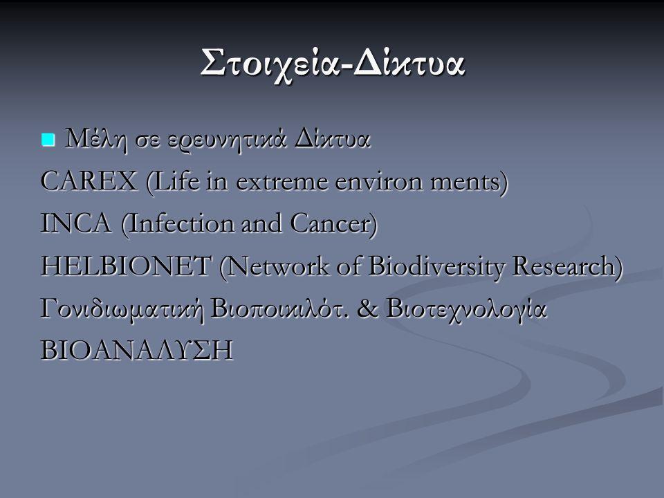 Στοιχεία-Δίκτυα Μέλη σε ερευνητικά Δίκτυα Μέλη σε ερευνητικά Δίκτυα CAREX (Life in extreme environ ments) INCA (Infection and Cancer) HELBIONET (Netwo