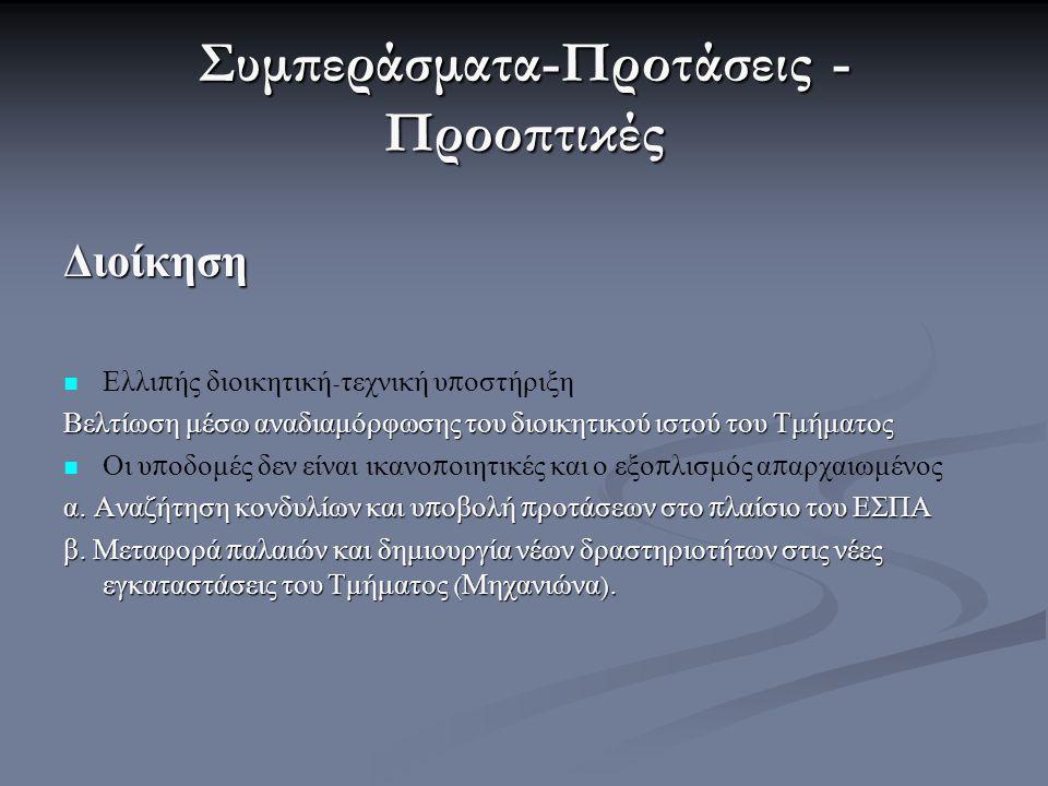 Συμπεράσματα-Προτάσεις - Προοπτικές Διοίκηση Ελλι π ής διοικητική - τεχνική υ π οστήριξη Βελτίωση μέσω αναδιαμόρφωσης του διοικητικού ιστού του Τμήματ