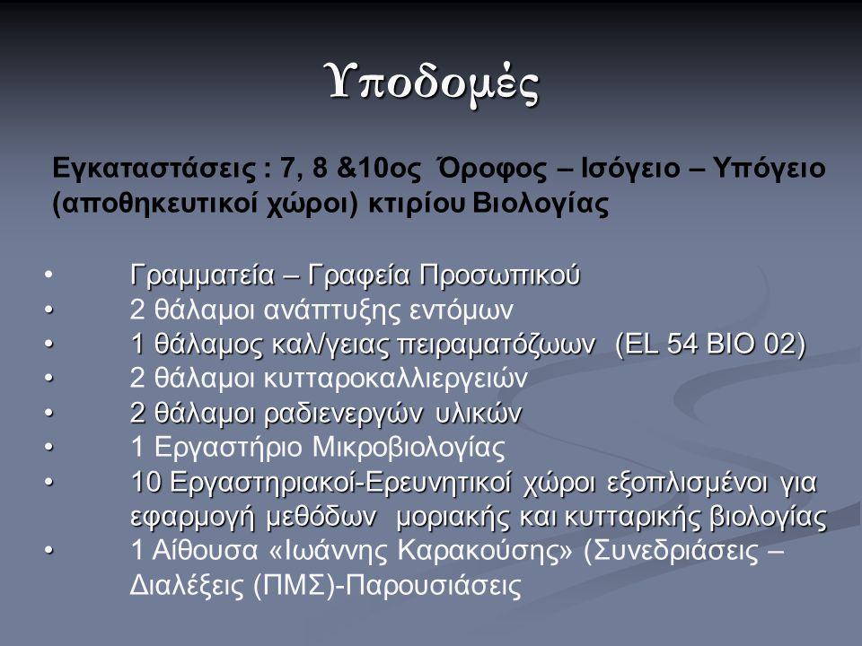 Υποδομές Εγκαταστάσεις : 7, 8 &10ος Όροφος – Ισόγειο – Υπόγειο (αποθηκευτικοί χώροι) κτιρίου Βιολογίας Γραμματεία – Γραφεία Προσωπικού 2 θάλαμοι ανάπτ