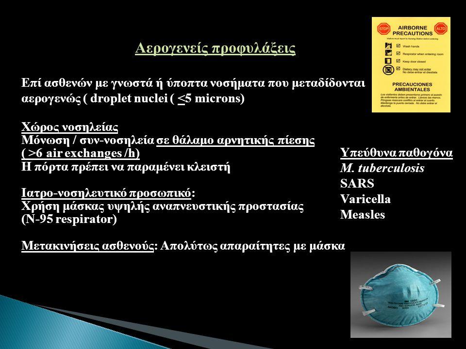 Αερογενείς προφυλάξεις Επί ασθενών με γνωστά ή ύποπτα νοσήματα που μεταδίδονται αερογενώς (droplet nuclei ( <5 microns) Επί ασθενών με γνωστά ή ύποπτα