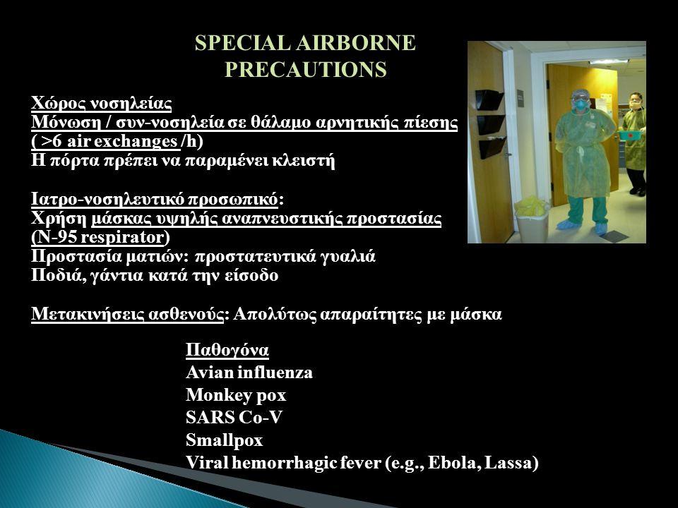 Παθογόνα Avian influenza Monkey pox SARS Co-V Smallpox Viral hemorrhagic fever (e.g., Ebola, Lassa) SPECIAL AIRBORNE PRECAUTIONS Χώρος νοσηλείας Μόνωσ