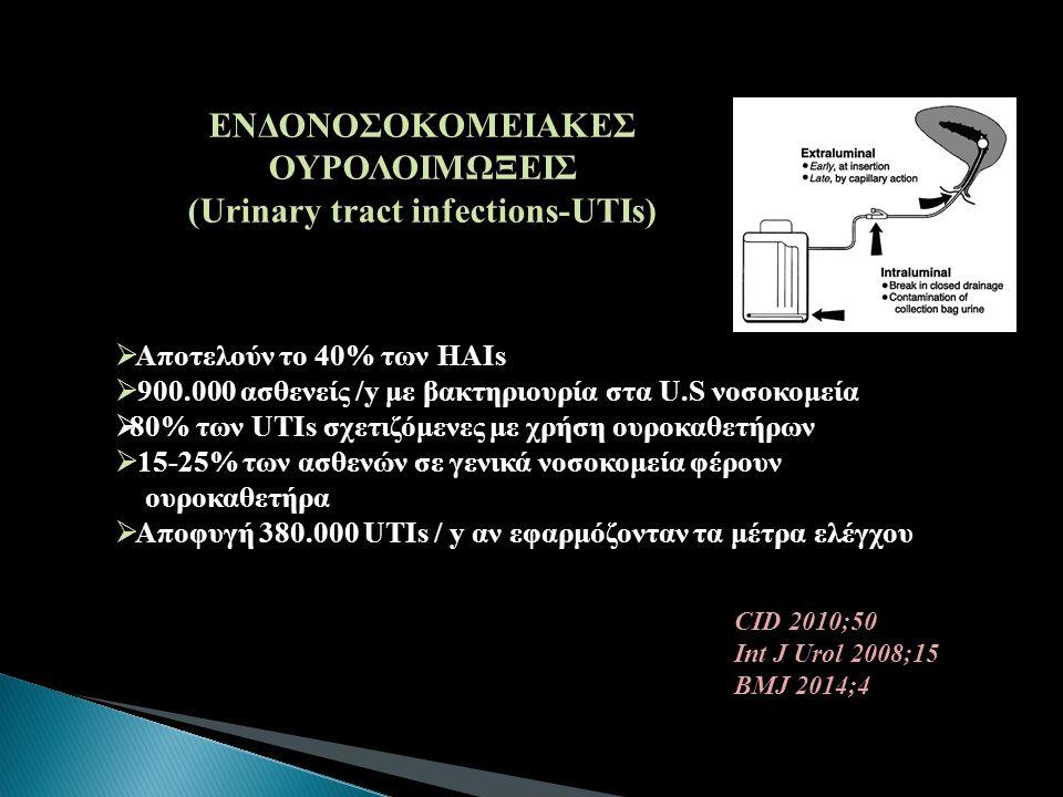 CID 2010;50 Int J Urol 2008;15 BMJ 2014;4 ΕΝΔΟΝΟΣΟΚΟΜΕΙΑΚΕΣ ΟΥΡΟΛΟΙΜΩΞΕΙΣ (Urinary tract infections-UTIs)  Αποτελούν το 40% των HAIs  900.000 ασθενε