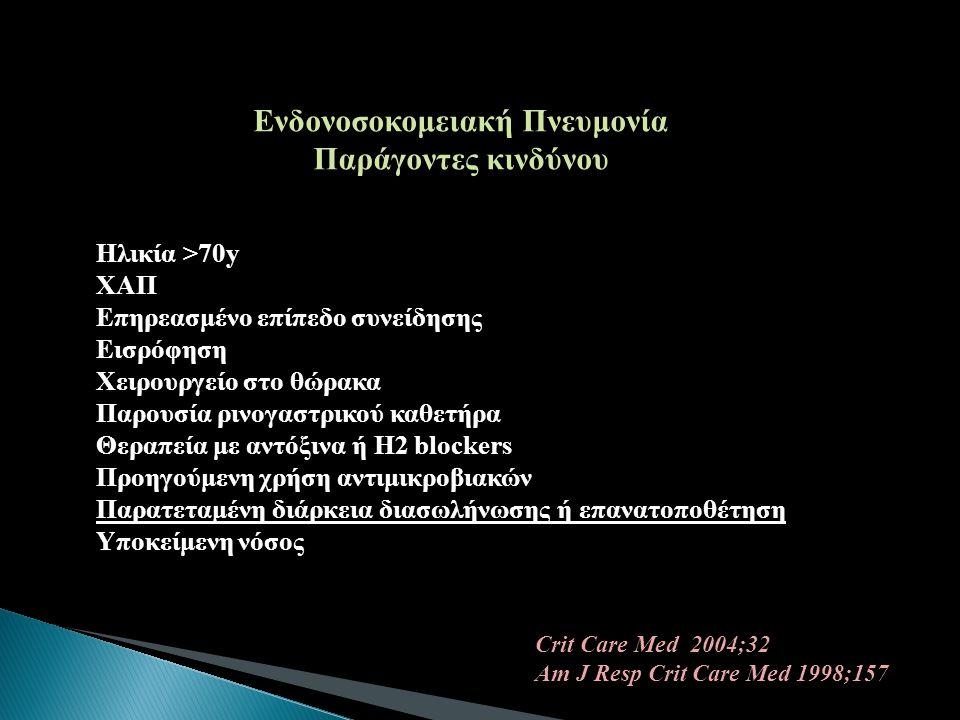 Ενδονοσοκομειακή Πνευμονία Παράγοντες κινδύνου Ηλικία >70y ΧΑΠ Επηρεασμένο επίπεδο συνείδησης Εισρόφηση Χειρουργείο στο θώρακα Παρουσία ρινογαστρικού