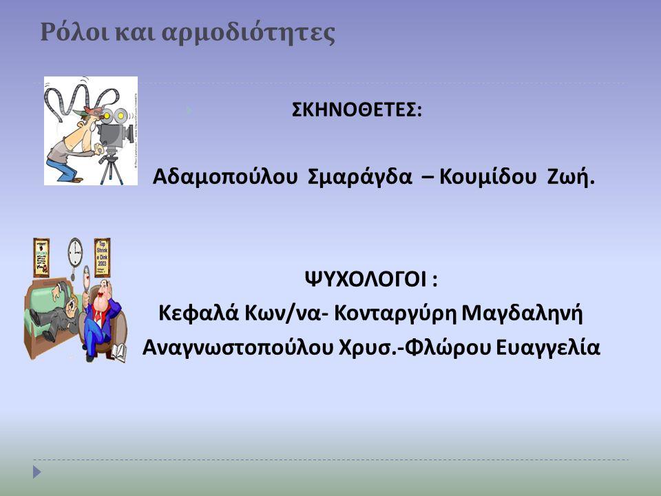 Ρόλοι και αρμοδιότητες  ΣΚΗΝΟΘΕΤΕΣ : Αδαμοπούλου Σμαράγδα – Κουμίδου Ζωή. ΨΥΧΟΛΟΓΟΙ : Κεφαλά Κων / να - Κονταργύρη Μαγδαληνή Αναγνωστοπούλου Χρυσ.- Φ