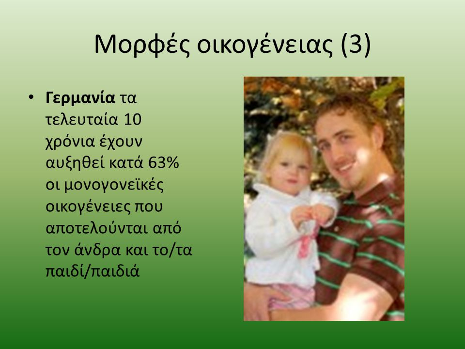 Μορφές οικογένειας (2) Ολλανδία: το 23% των νεογέννητων είναι από ανύπαντρους γονείς. Πολωνία: τα τελευταία 20 χρόνια έχουν διπλασιαστεί τα παιδιά που