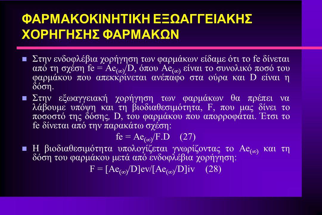 ΦΑΡΜΑΚΟΚΙΝΗΤΙΚΗ ΕΞΩΑΓΓΕΙΑΚΗΣ ΧΟΡΗΓΗΣΗΣ ΦΑΡΜΑΚΩΝ n Στην ενδοφλέβια χορήγηση των φαρμάκων είδαμε ότι το fe δίνεται από τη σχέση fe = Ae (∞) /D, όπου Ae