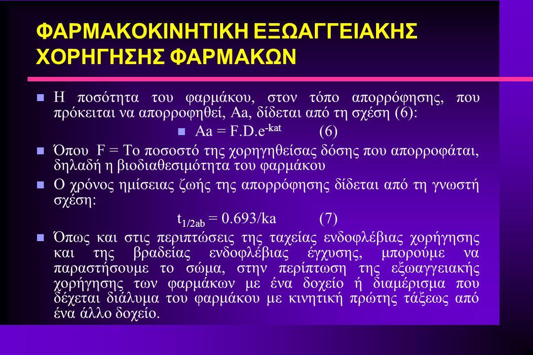 ΦΑΡΜΑΚΟΚΙΝΗΤΙΚΗ ΕΞΩΑΓΓΕΙΑΚΗΣ ΧΟΡΗΓΗΣΗΣ ΦΑΡΜΑΚΩΝ [F 1.D 1 ]/[F 2.D 2 ] = AUC 1 /AUC 2 n Από τη σχέση αυτή λύνοντας ως προς F 1 παίρνουμε τη σχέση 26: F 1 = [AUC 1.D 2.F 2 ]/[AUC 2.D 1 ] (26) n Η σχέση (26) μας επιτρέπει να βρούμε τη σχετική βιοδιαθεσιμότητα ενός σκευάσματος αν γνωρίζούμε τη βιοδιαθεσιμότητα ενός άλλου, δηλαδή να συγκρίνουμε δύο φαρμακομορφές ως προς τη βιοδιαθεσιμότητα τους.