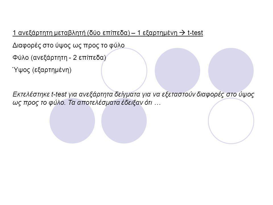 1 ανεξάρτητη μεταβλητή (δύο επίπεδα) – 1 εξαρτημένη  t-test Διαφορές στο ύψος ως προς το φύλο Φύλο (ανεξάρτητη - 2 επίπεδα) Ύψος (εξαρτημένη) Εκτελέσ
