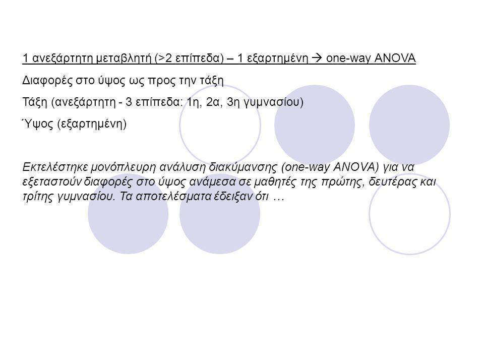 1 ανεξάρτητη μεταβλητή (>2 επίπεδα) – 1 εξαρτημένη  one-way ANOVA Διαφορές στο ύψος ως προς την τάξη Τάξη (ανεξάρτητη - 3 επίπεδα: 1η, 2α, 3η γυμνασί