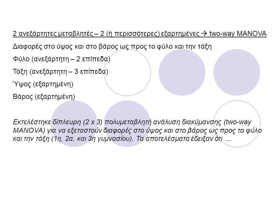 2 ανεξάρτητες μεταβλητές – 2 (ή περισσότερες) εξαρτημένες  two-way MANOVA Διαφορές στο ύψος και στο βάρος ως προς το φύλο και την τάξη Φύλο (ανεξάρτη