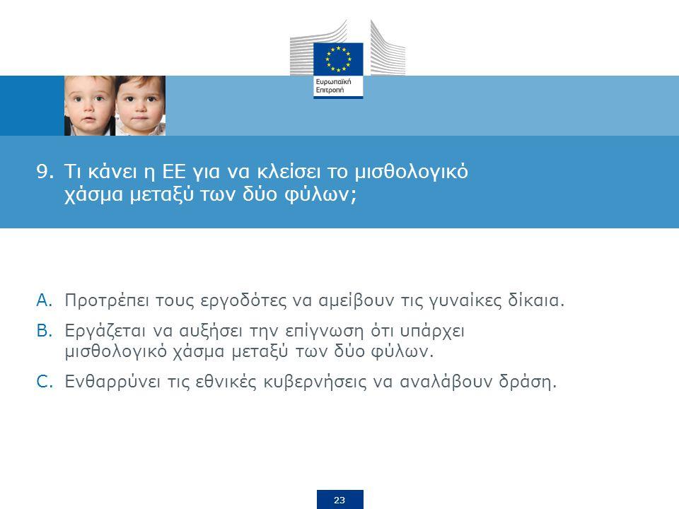 23 9.Τι κάνει η ΕΕ για να κλείσει το μισθολογικό χάσμα μεταξύ των δύο φύλων; A.Προτρέπει τους εργοδότες να αμείβουν τις γυναίκες δίκαια.