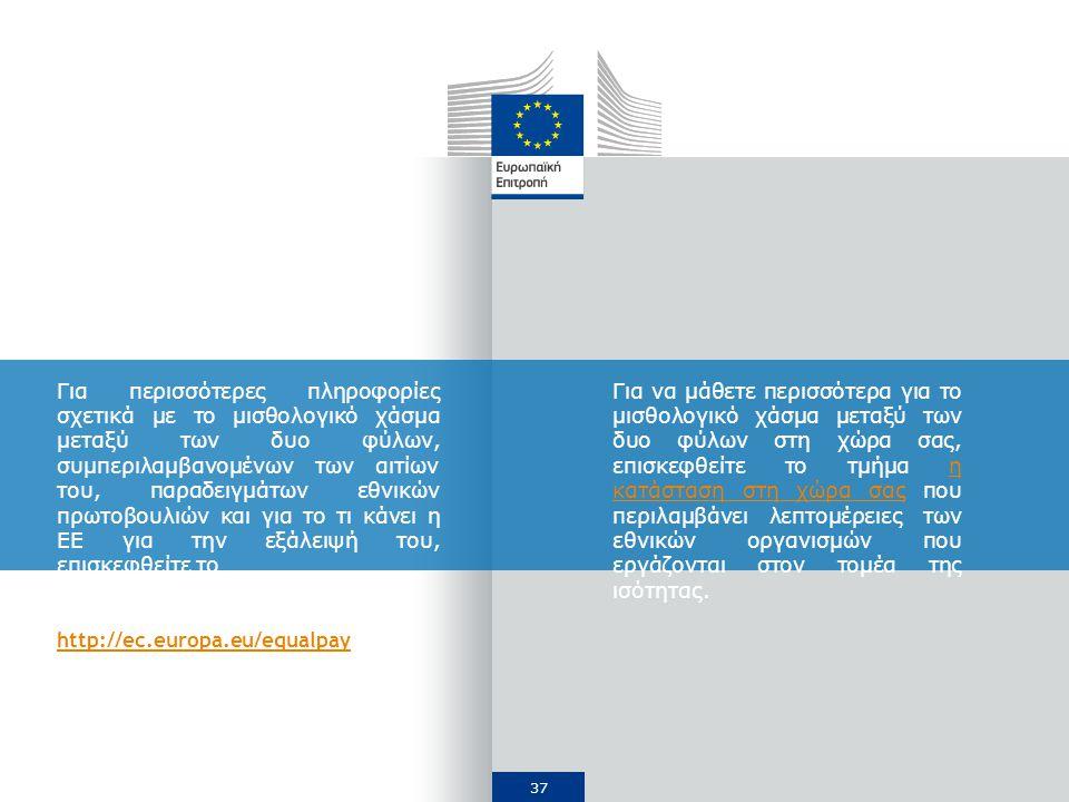 37 Για περισσότερες πληροφορίες σχετικά με το μισθολογικό χάσμα μεταξύ των δυο φύλων, συμπεριλαμβανομένων των αιτίων του, παραδειγμάτων εθνικών πρωτοβουλιών και για το τι κάνει η ΕΕ για την εξάλειψή του, επισκεφθείτε το http://ec.europa.eu/equalpay Για να μάθετε περισσότερα για το μισθολογικό χάσμα μεταξύ των δυο φύλων στη χώρα σας, επισκεφθείτε το τμήμα η κατάσταση στη χώρα σας που περιλαμβάνει λεπτομέρειες των εθνικών οργανισμών που εργάζονται στον τομέα της ισότητας.η κατάσταση στη χώρα σας