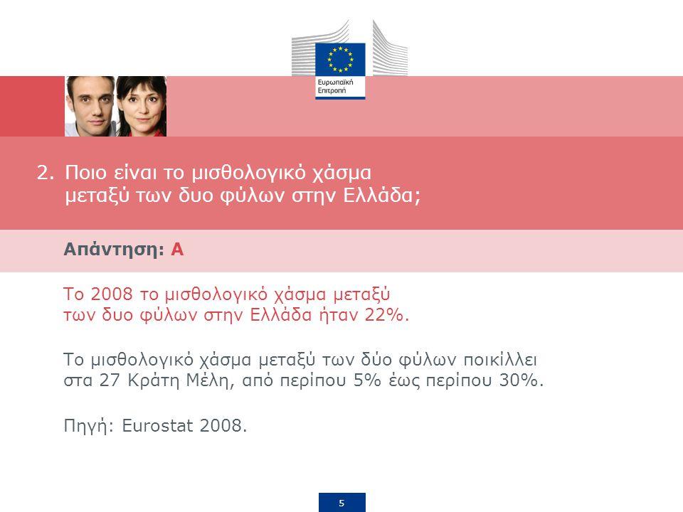 5 2.Ποιο είναι το μισθολογικό χάσμα μεταξύ των δυο φύλων στην Ελλάδα; Απάντηση: A Το 2008 το μισθολογικό χάσμα μεταξύ των δυο φύλων στην Ελλάδα ήταν 22%.