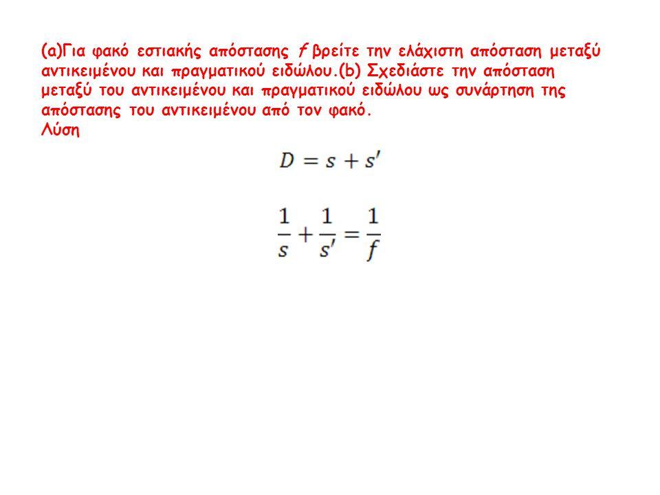 (a)Για φακό εστιακής απόστασης f βρείτε την ελάχιστη απόσταση μεταξύ αντικειμένου και πραγματικού ειδώλου.(b) Σχεδιάστε την απόσταση μεταξύ του αντικε