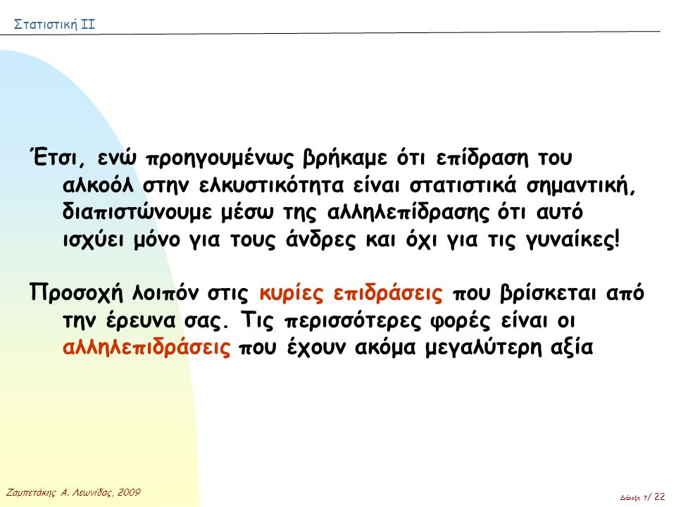 Στατιστική ΙΙ Ζαμπετάκης Α. Λεωνίδας, 2009 Διάλεξη 7 / 22 Έτσι, ενώ προηγουμένως βρήκαμε ότι επίδραση του αλκοόλ στην ελκυστικότητα είναι στατιστικά σ