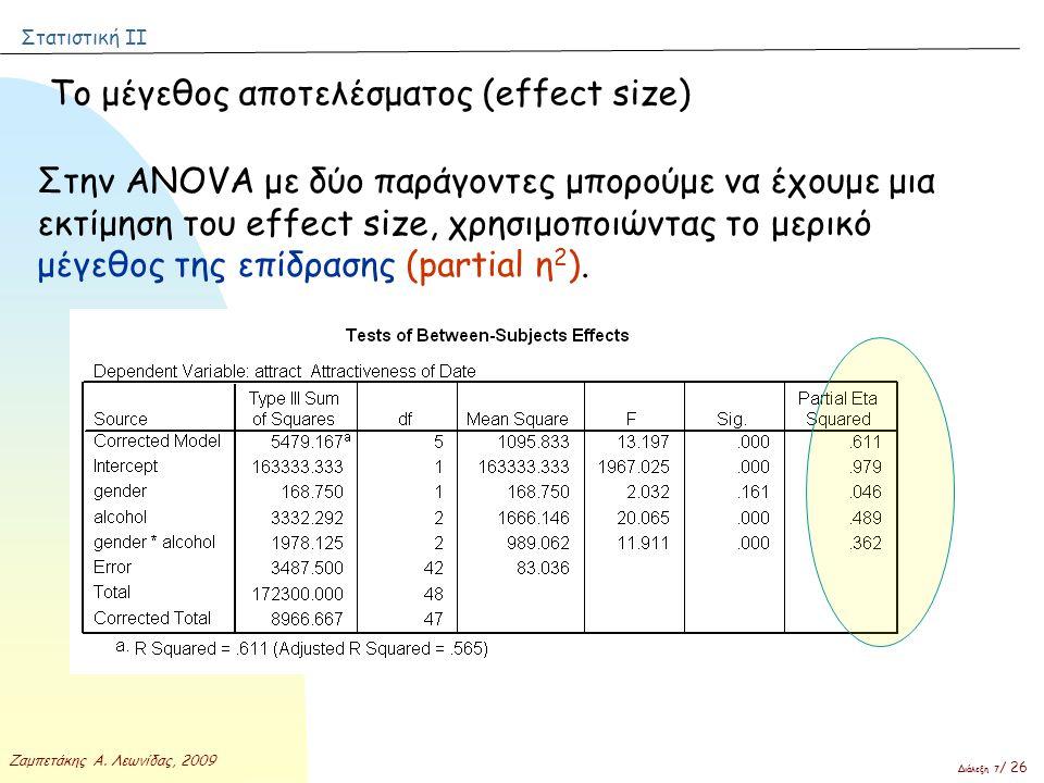 Στατιστική ΙΙ Ζαμπετάκης Α. Λεωνίδας, 2009 Διάλεξη 7 / 26 Το μέγεθος αποτελέσματος (effect size) Στην ANOVA με δύο παράγοντες μπορούμε να έχουμε μια ε