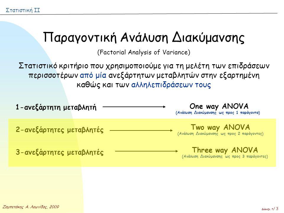 Στατιστική ΙΙ Ζαμπετάκης Α. Λεωνίδας, 2009 Διάλεξη 7 / 3 Παραγοντική Ανάλυση Διακύμανσης (Factorial Analysis of Variance) Στατιστικό κριτήριο που χρησ