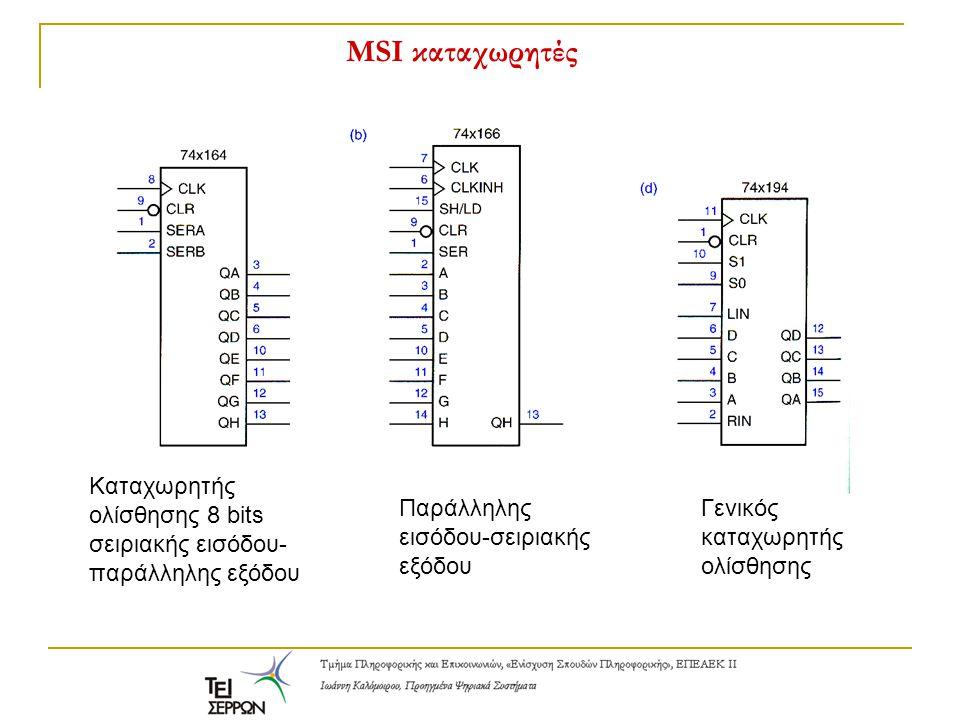 MSI καταχωρητές Καταχωρητής ολίσθησης 8 bits σειριακής εισόδου- παράλληλης εξόδου Παράλληλης εισόδου-σειριακής εξόδου Γενικός καταχωρητής ολίσθησης
