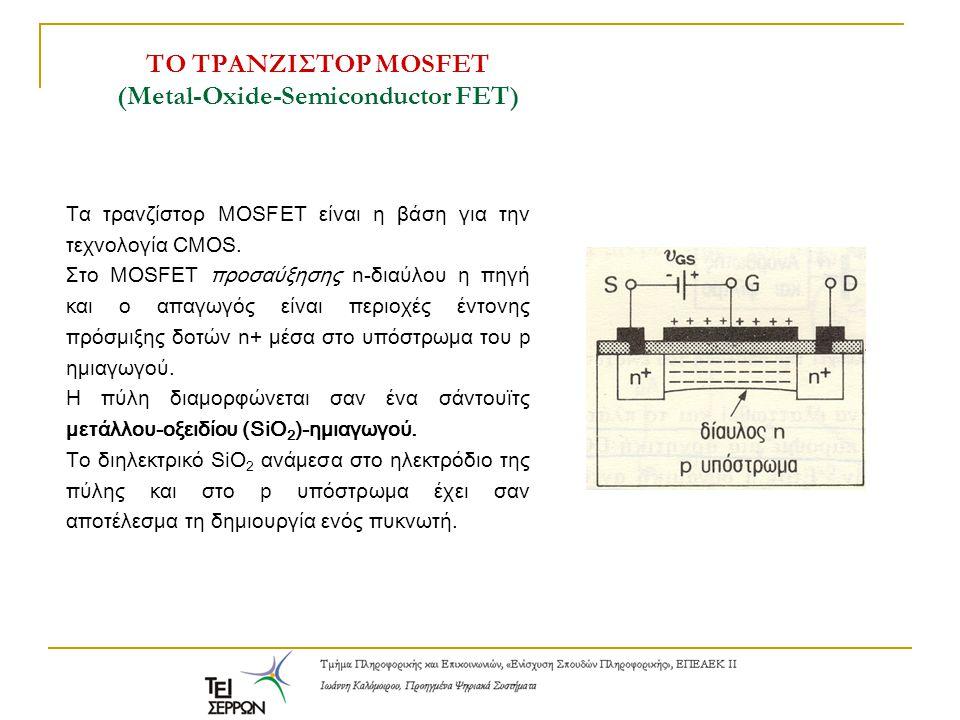 Τα τρανζίστορ MOSFET είναι η βάση για την τεχνολογία CMOS. Στο MOSFET προσαύξησης n-διαύλου η πηγή και ο απαγωγός είναι περιοχές έντονης πρόσμιξης δοτ