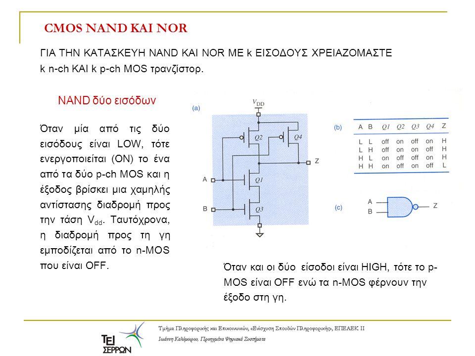Ηλεκτρική συμπεριφορά CMOS: Λογικά επίπεδα και επίπεδα θορύβου 4.4V 3.15V 1.35V 0.1V Περιθώριο θορύβου: 1.25V στην κατάσταση high και στην κατάσταση low.