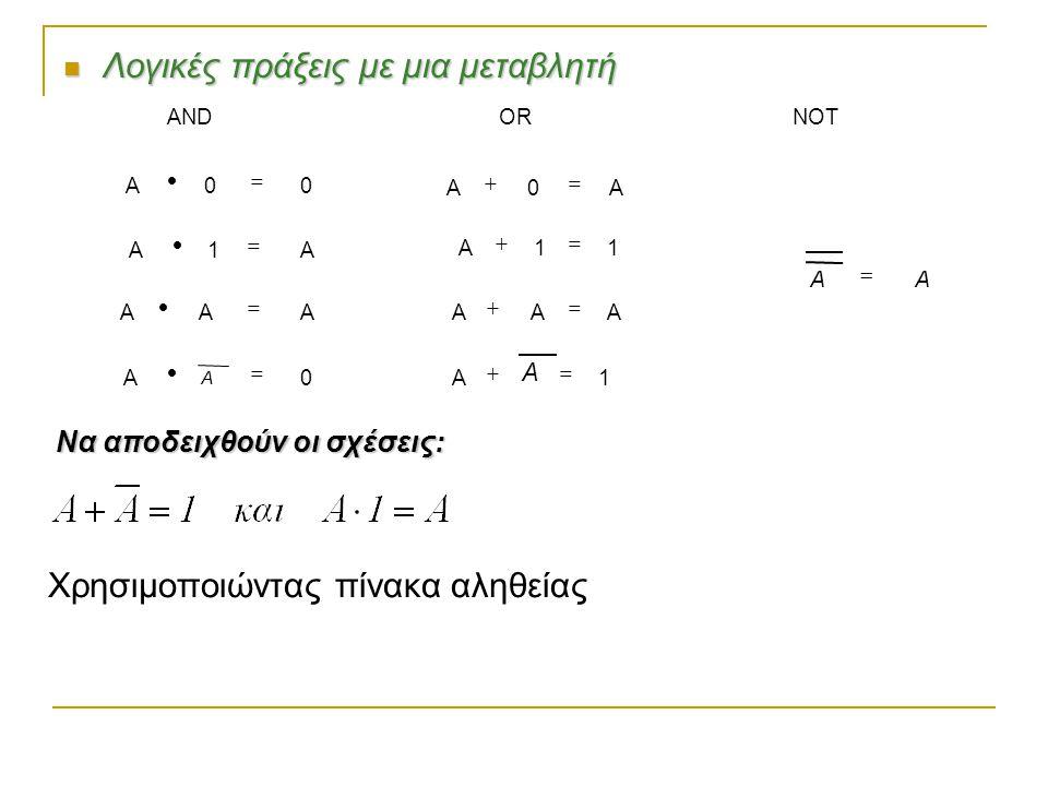 Πύλη NOR (NOT OR) H έξοδος είναι αληθής (1), όταν και οι δύο είσοδοι είναι ψευδείς (0)