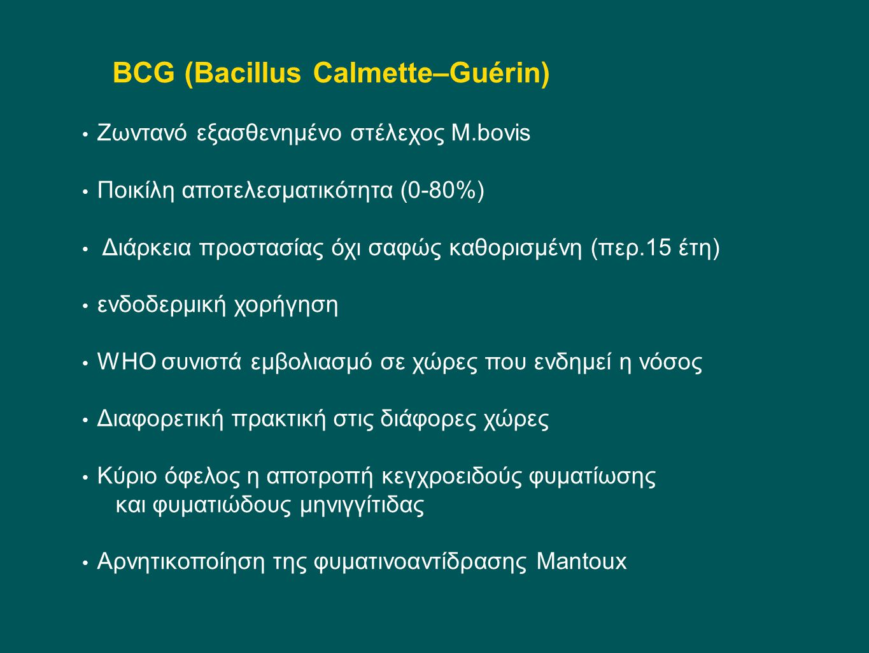 BCG (Bacillus Calmette–Guérin) Ζωντανό εξασθενημένο στέλεχος Μ.bovis Ποικίλη αποτελεσματικότητα (0-80%) Διάρκεια προστασίας όχι σαφώς καθορισμένη (περ