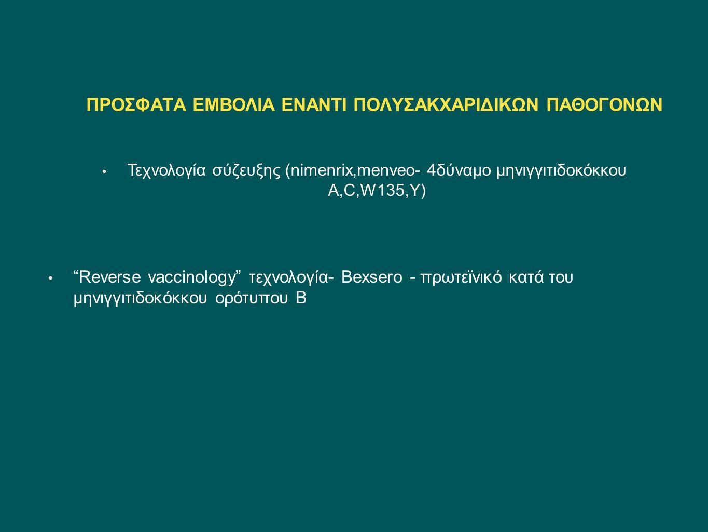 """ΠΡΟΣΦΑΤΑ ΕΜΒΟΛΙΑ ΕΝΑΝΤΙ ΠΟΛΥΣΑΚΧΑΡΙΔΙΚΩΝ ΠΑΘΟΓΟΝΩΝ Τεχνολογία σύζευξης (nimenrix,menveo- 4δύναμο μηνιγγιτιδοκόκκου Α,C,W135,Y) """"Reverse vaccinology"""" τ"""