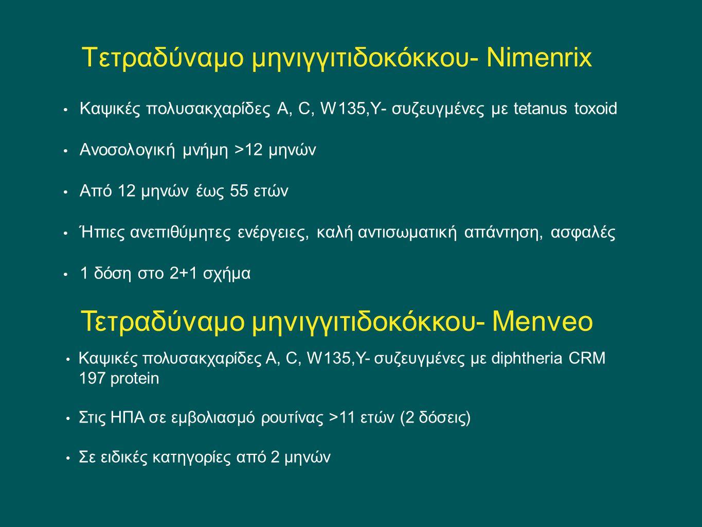 Τετραδύναμο μηνιγγιτιδοκόκκου- Nimenrix Καψικές πολυσακχαρίδες Α, C, W135,Y- συζευγμένες με tetanus toxoid Ανοσολογική μνήμη >12 μηνών Από 12 μηνών έω