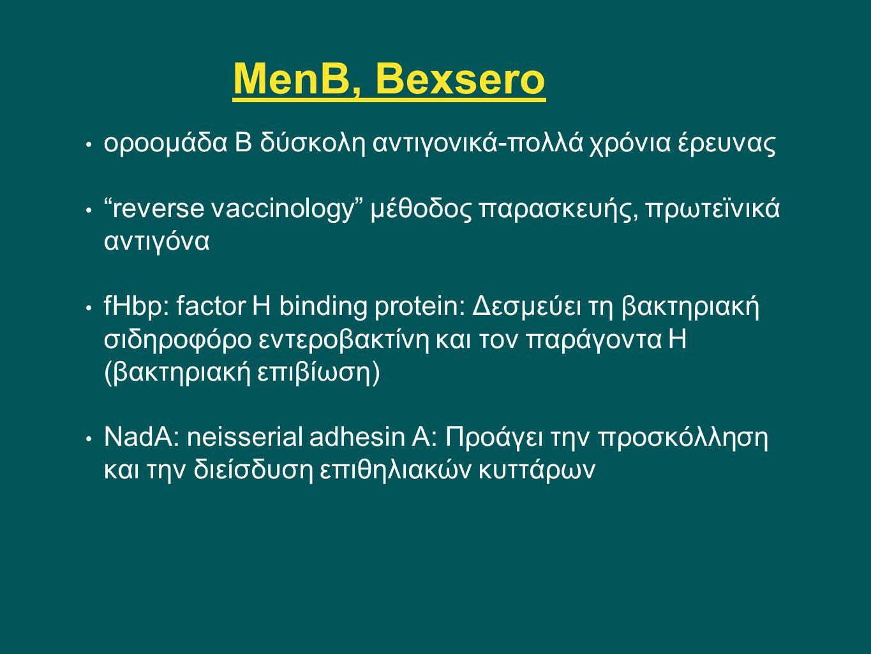 "MenB, Bexsero οροομάδα Β δύσκολη αντιγονικά-πολλά χρόνια έρευνας ""reverse vaccinology"" μέθοδος παρασκευής, πρωτεϊνικά αντιγόνα fHbp: factor H binding"