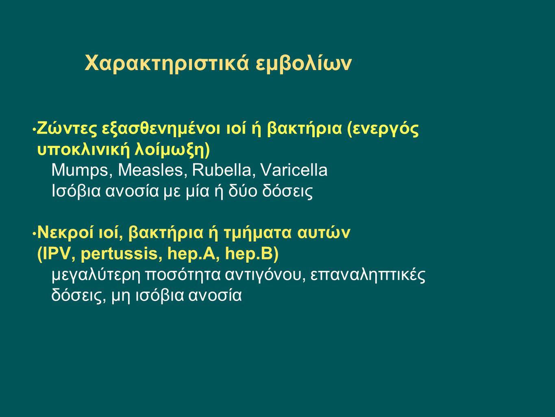 Ειδικά χαρακτηριστικά εμβολίων αντιγονικός παράγοντας συζευκτικοί παράγοντες (ανατοξίνη τετάνου, διφθερίτιδας, πρωτείνη D) υπόστρωμα (φ.ορός, καλλιέργειες κυττάρων) συντηρητικά, σταθεροποιητικά, αντιμικροβιακοί παράγοντες (θειομερσάλη, νεομυκίνη) ανοσοενισχυτικά (άλατα αλουμινίου-σε ΗPV, tetanus, hep.B,diphtheria)