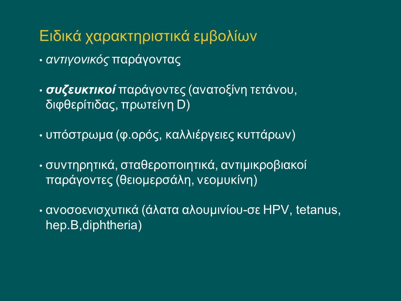 Εμβόλια σε ανοσοκατασταλμένα παιδιά Αδρανοποιημένα εμβόλια γενικά ασφαλή- Αμφίβολη απάντηση Ανεπάρκεια συμπληρώματος- εμβόλια ρουτίνας ασφαλή (τελική οδός-μηνιγγιτιδόκοκκος, ασπληνία (πνευμονιόκοκκος, μηνιγγιτιδόκοκκος) Αγαμμασφαιριναιμία: αναποτελεσματικά τα εμβόλια-IGIV HIV λοίμωξη: A.