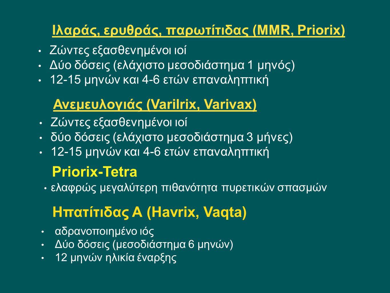 Ιλαράς, ερυθράς, παρωτίτιδας (MMR, Priorix) Zώντες εξασθενημένοι ιοί Δύο δόσεις (ελάχιστο μεσοδιάστημα 1 μηνός) 12-15 μηνών και 4-6 ετών επαναληπτική