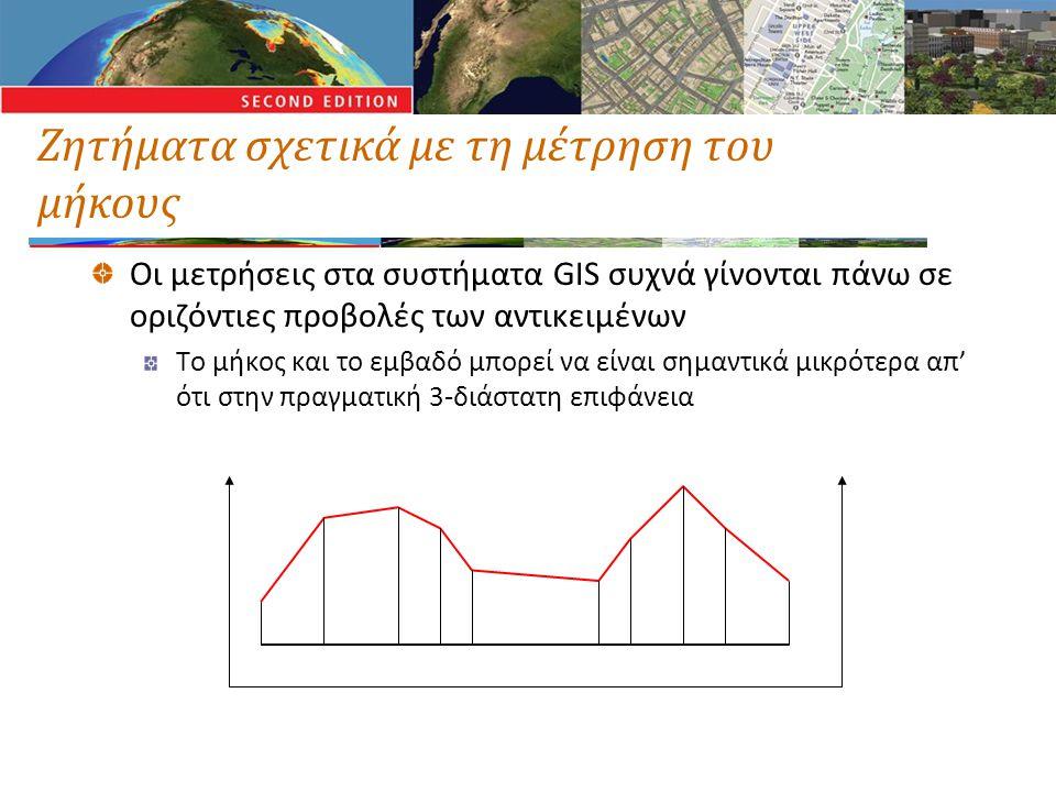 Ζητήματα σχετικά με τη μέτρηση του μήκους Οι μετρήσεις στα συστήματα GIS συχνά γίνονται πάνω σε οριζόντιες προβολές των αντικειμένων Το μήκος και το ε