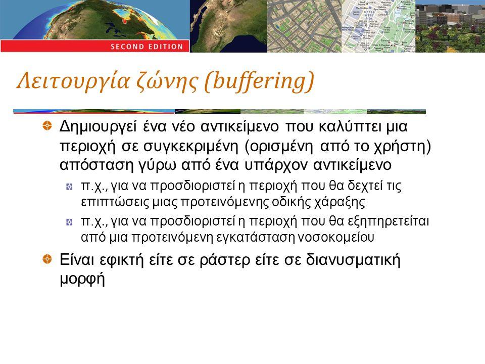 Λειτουργία ζώνης (buffering) Δημιουργεί ένα νέο αντικείμενο που καλύπτει μια περιοχή σε συγκεκριμένη (ορισμένη από το χρήστη) απόσταση γύρω από ένα υπ