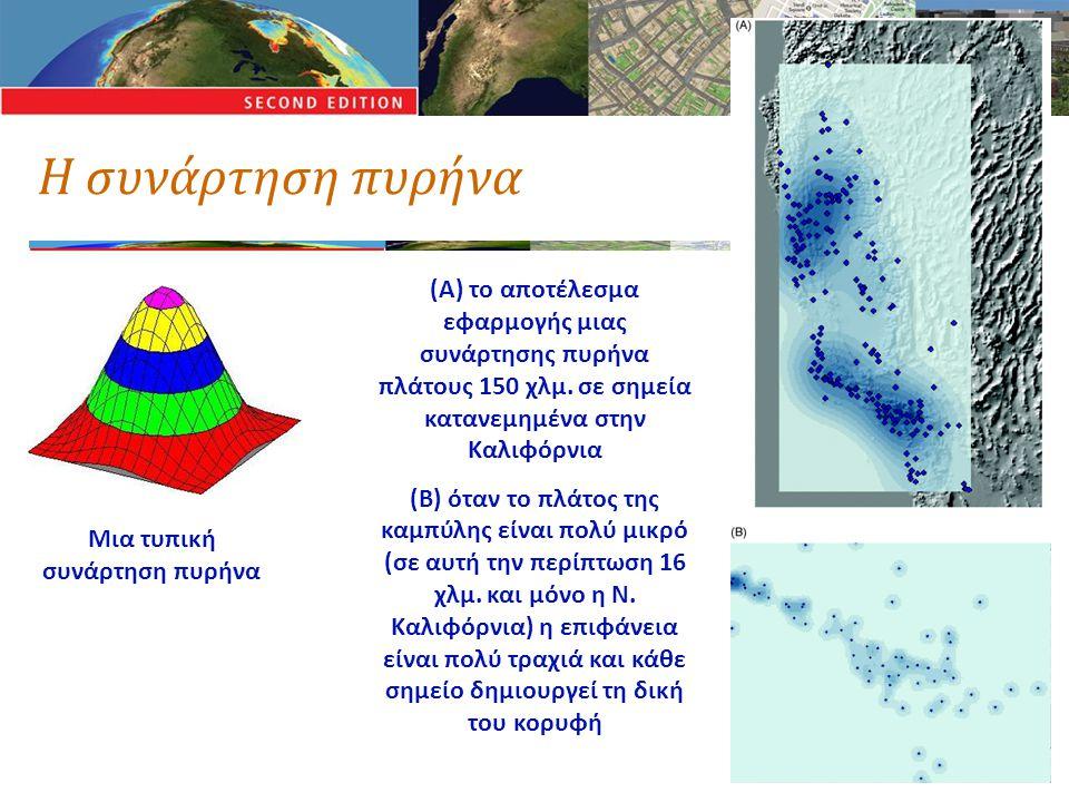 Η συνάρτηση πυρήνα Μια τυπική συνάρτηση πυρήνα (Α) το αποτέλεσμα εφαρμογής μιας συνάρτησης πυρήνα πλάτους 150 χλμ. σε σημεία κατανεμημένα στην Καλιφόρ