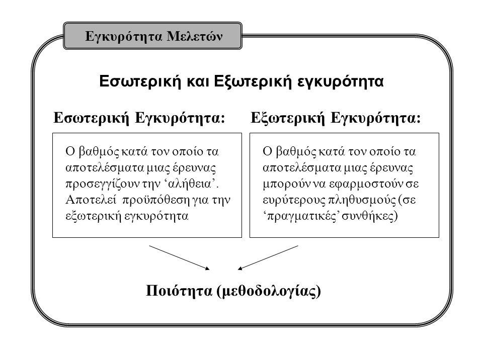 Εσωτερική και Εξωτερική εγκυρότητα Εγκυρότητα Μελετών Ο βαθμός κατά τον οποίο τα αποτελέσματα μιας έρευνας προσεγγίζουν την 'αλήθεια'.