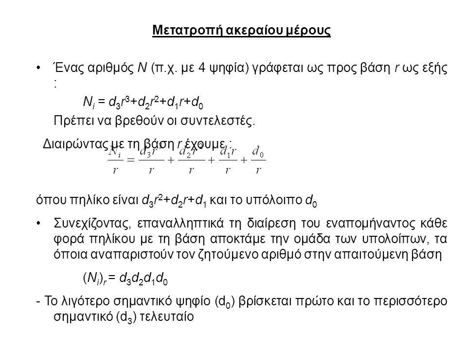 Μετατροπή ακεραίου μέρους Ένας αριθμός Ν (π.χ. με 4 ψηφία) γράφεται ως προς βάση r ως εξής : N i = d 3 r 3 +d 2 r 2 +d 1 r+d 0 Πρέπει να βρεθούν οι συ