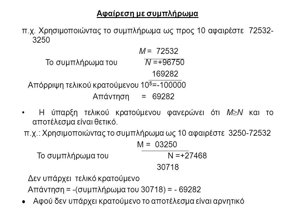 Αφαίρεση με συμπλήρωμα π.χ. Χρησιμοποιώντας το συμπλήρωμα ως προς 10 αφαιρέστε 72532- 3250 Μ = 72532 Το συμπλήρωμα του Ν =+96750 169282 Απόρριψη τελικ