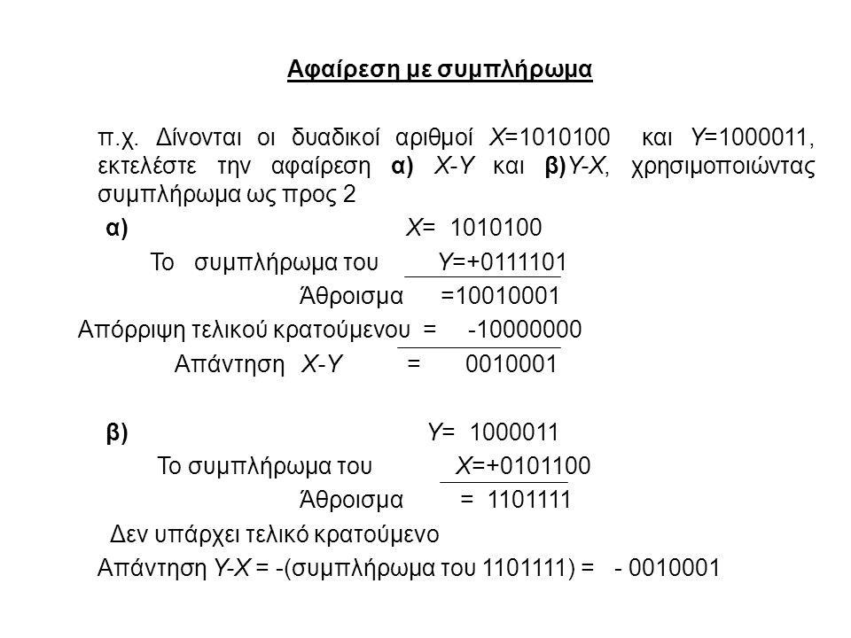 Αφαίρεση με συμπλήρωμα π.χ. Δίνονται οι δυαδικοί αριθμοί X=1010100 και Y=1000011, εκτελέστε την αφαίρεση α) X-Y και β)Y-X, χρησιμοποιώντας συμπλήρωμα