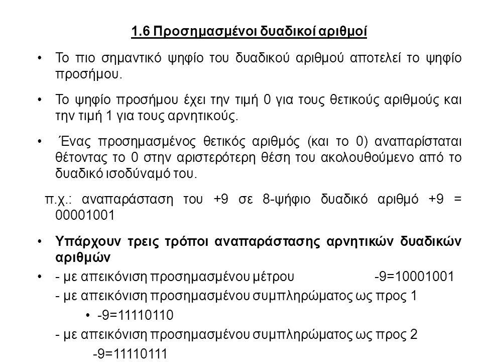 1.6 Προσημασμένοι δυαδικοί αριθμοί Το πιο σημαντικό ψηφίο του δυαδικού αριθμού αποτελεί το ψηφίο προσήμου. Το ψηφίο προσήμου έχει την τιμή 0 για τους