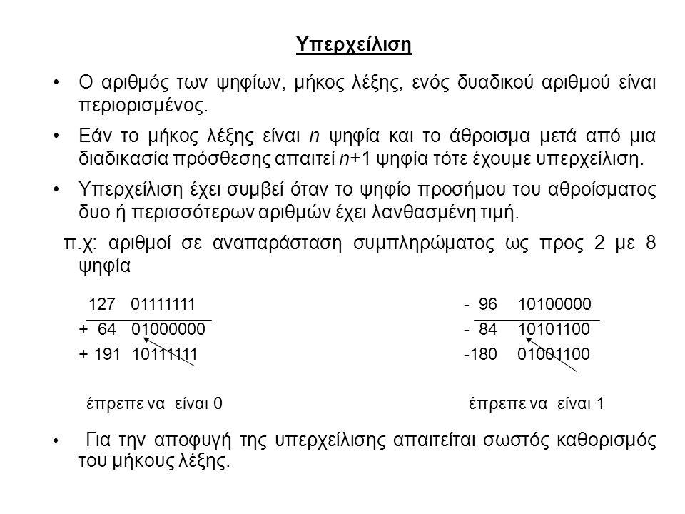 Υπερχείλιση Ο αριθμός των ψηφίων, μήκος λέξης, ενός δυαδικού αριθμού είναι περιορισμένος. Εάν το μήκος λέξης είναι n ψηφία και το άθροισμα μετά από μι