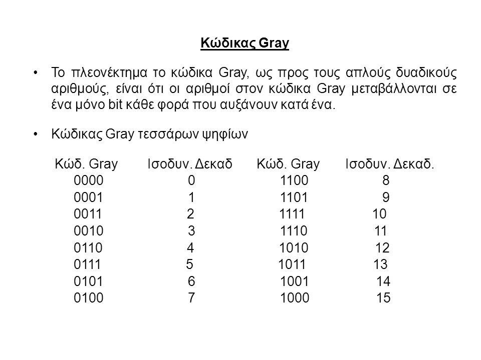 Κώδικας Gray Το πλεονέκτημα το κώδικα Gray, ως προς τους απλούς δυαδικούς αριθμούς, είναι ότι οι αριθμοί στον κώδικα Gray μεταβάλλονται σε ένα μόνο bi