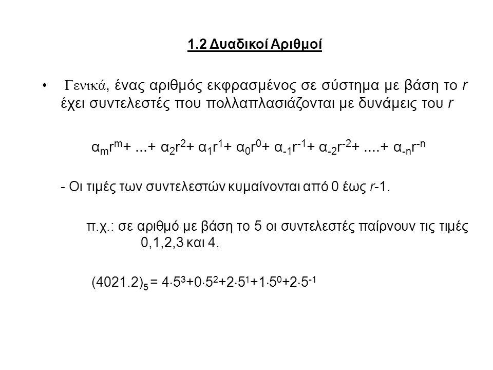 1.2 Δυαδικοί Αριθμοί Γενικά, ένας αριθμός εκφρασμένος σε σύστημα με βάση το r έχει συντελεστές που πολλαπλασιάζονται με δυνάμεις του r α m r m +...+ α